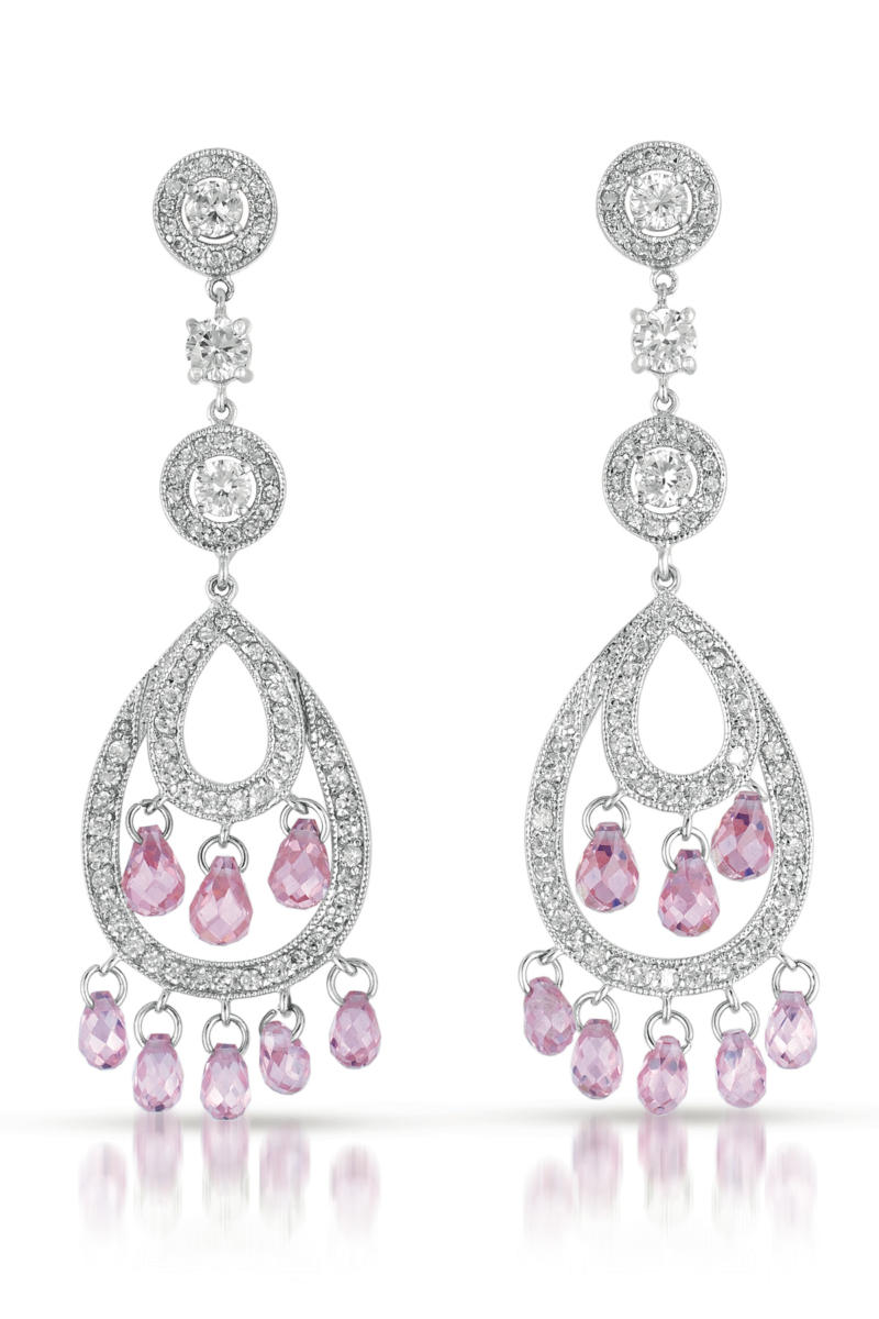 Flawless Cubic Zirconia And Sterling Silver Pink Chandelier Earrings