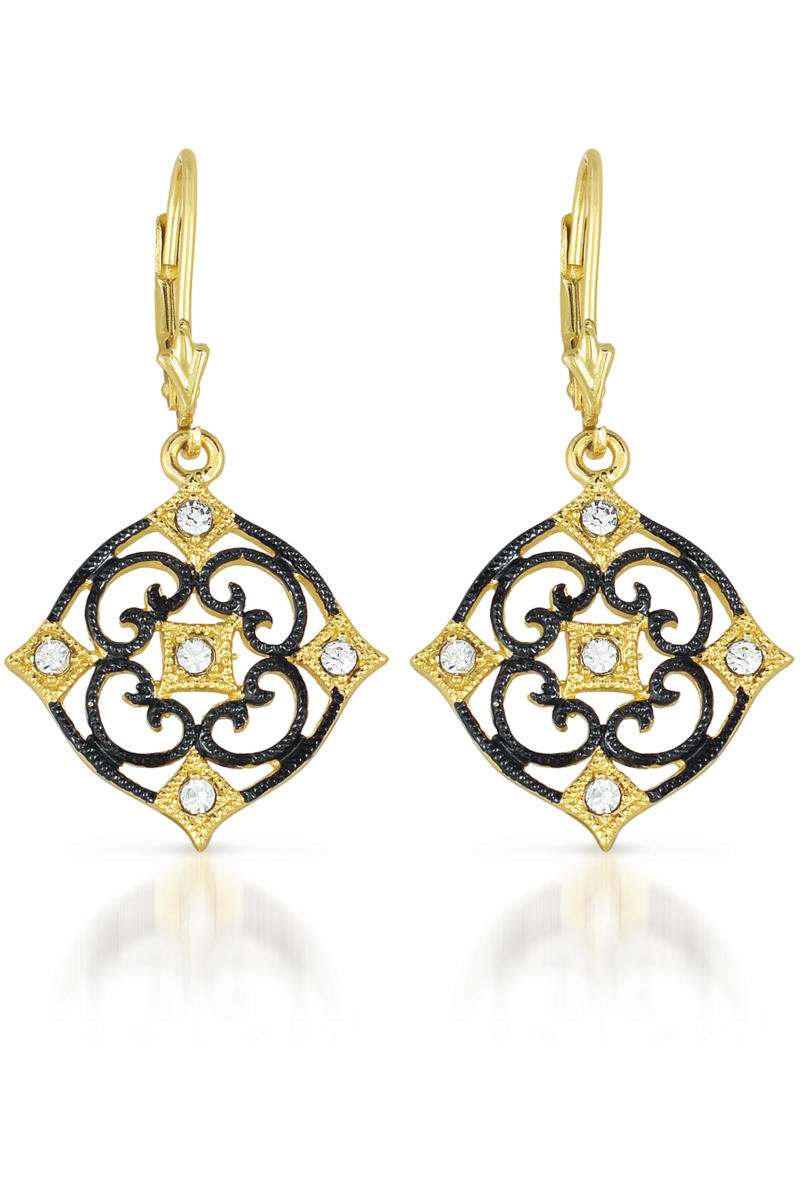 flawless cubic sterling silver black and gold deco