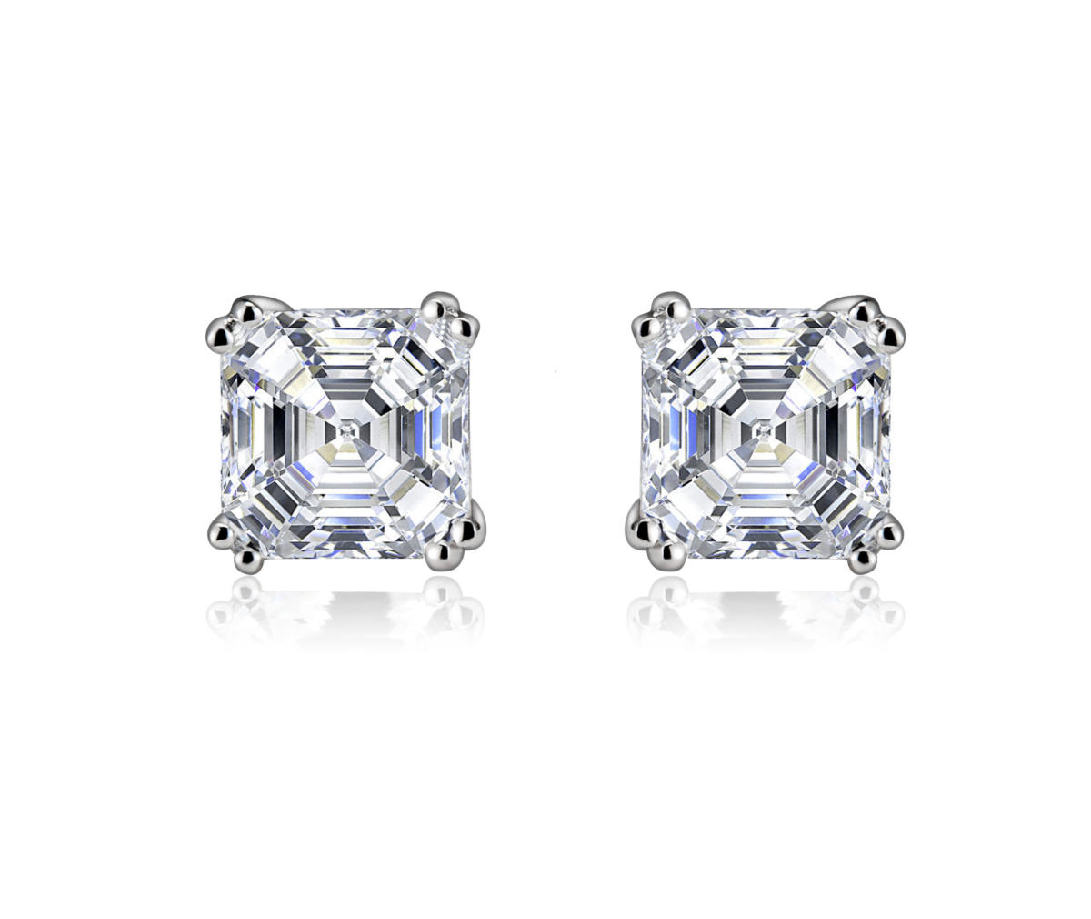 Flawless Cubic Sterling Silver Assher Cut Square Stud Earrings