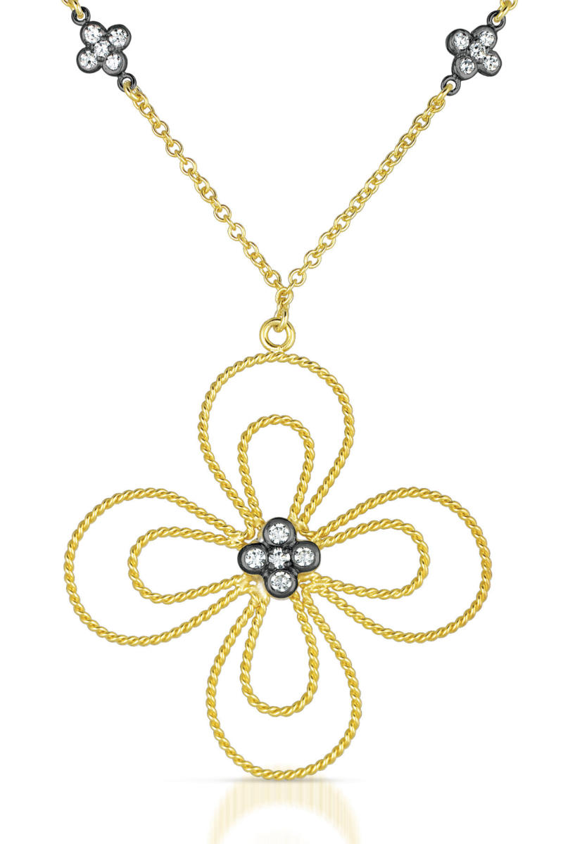 flawless cubic sterling silver black and gold flower