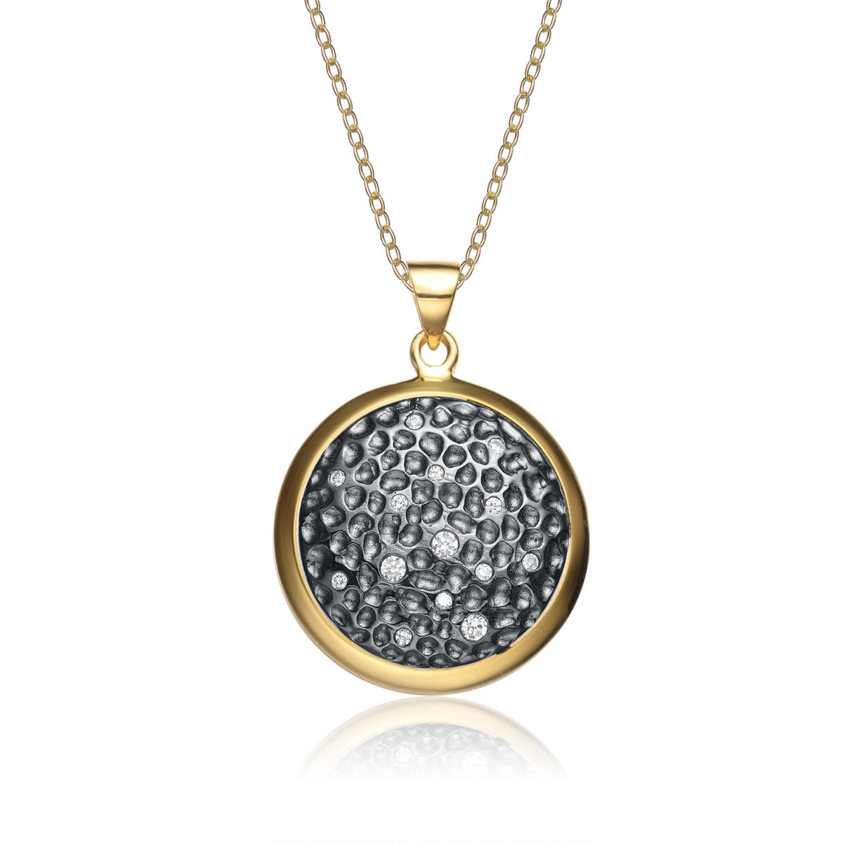 flawless cubic sterling silver black and gold pendant